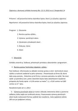 Zapisnica zo Zhromaždenia SVB dňa 22.11.2012