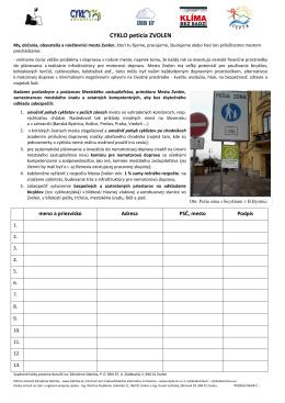 CYKLO petícia Zvolen na podpisy - obojstranná