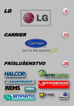 Cenník LG a CARRIER