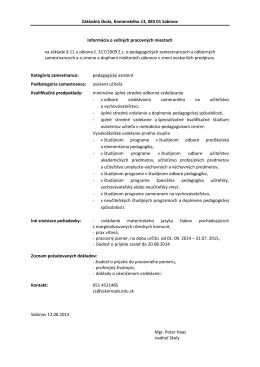 Základná škola, Komenského 13, 083 01 Sabinov Informácia o