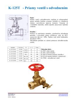 K-125T - Priamy ventil s odvodnením