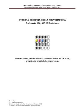 STREDNÁ ODBORNÁ ŠKOLA POLYGRAFICKÁ Račianska 190