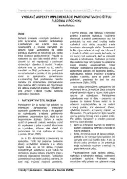vybrané aspekty implementácie participatívneho štýlu riadenia v