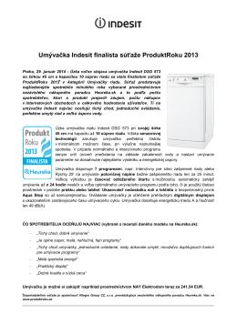 Umývačka Indesit finalista súťaže ProduktRoku 2013