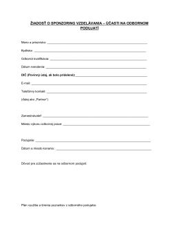 žiadosť o sponzoring vzdelávania – účasti na odbornom