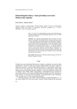 Paleontologické nálezy v prírodnej rezervácii Štokeravská vápenka