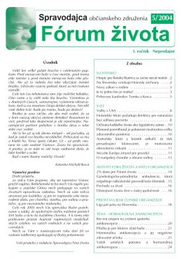 Spravodajca občianskeho združenia Fórum života 5/2004 (pdf, 389 kB)