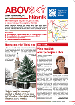 ABOVSKÝ hlásnik - Regionálne združenie obcí Hornád