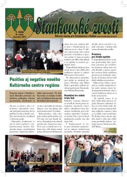 Stankovské zvesti, 2012, VI. ročník, 1. číslo