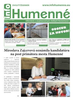 7-14 INFO HUMENNE.indd - info Humenné | Noviny