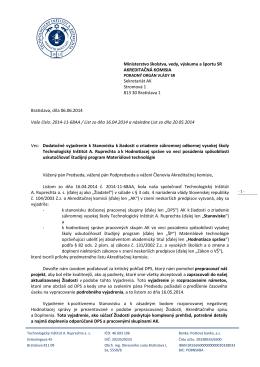 Ministerstvo školstva, vedy, výskumu a športu SR AKREDITAČNÁ