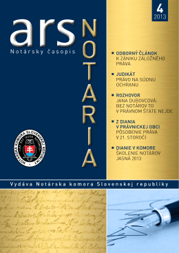 Notársky časopis - Notárska komora Slovenskej republiky
