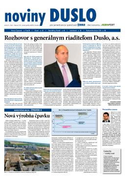 Noviny Duslo - Duslo a.s., Šaľa