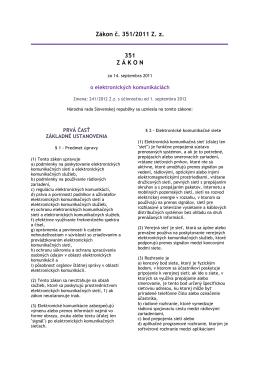 Zákon č. 351_2011 o elektronickych komunikaciach