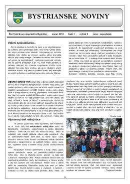 Bystrianske noviny č. 1/2013
