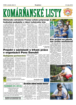 Komárňanské listy 12/2014 - Mestská televízia Komárno