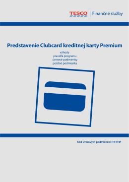 Úverové podmienky pre Clubcard kreditnú kartu Premium