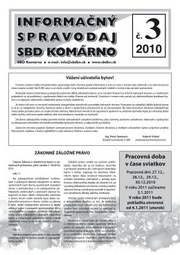 Spravodaj 2010 / 03 - Stavebné bytové družstvo Komárno