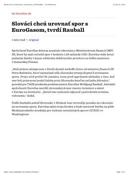 Slováci chcú urovnať spor s EuroGasom, tvrdí Rauball