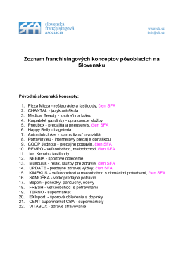 Zoznam franchisingových konceptov pôsobiacich na Slovensku