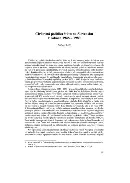 Cirkevná politika štátu na Slovensku v rokoch 1948 – 1989
