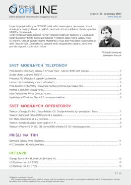 Fony.sk OFFLINE 4. decembra 2011