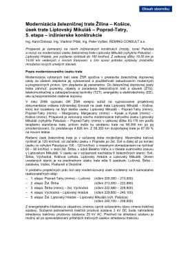 Modernizácia železničnej trate Žilina – Košice, úsek trate