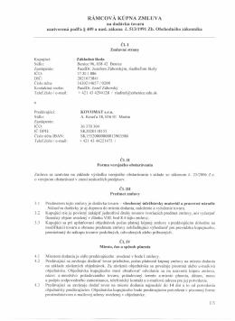 RÁMCOVÁ KÚPNA ZMLUVA - Základná škola, Benice 96