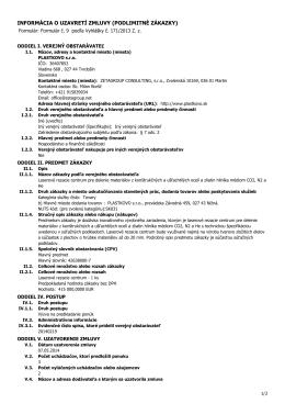 informácia o uzavretí zmluvy (podlimitné zákazky)