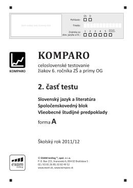 KOMPARO Slovenský jazyk a literatúra Spoločenskovedný