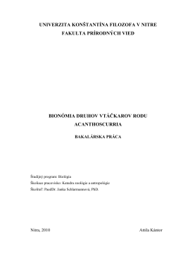 Bionómia druhov vtáčkarov rodu Acanthoscurria