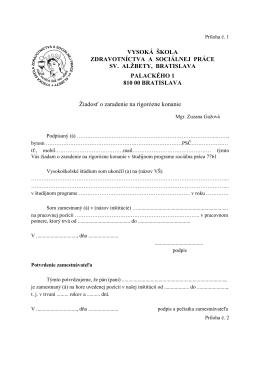 názov práce - Vysoká škola zdravotníctva a sociálnej práce sv. Alžbety