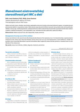 Manažment ošetrovateľskej starostlivosti pri IMC u detí
