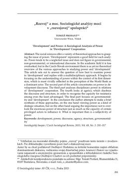 """""""Rozvoj"""" a moc. Sociologické analýzy moci v """"rozvojovej"""" spolupráci*"""