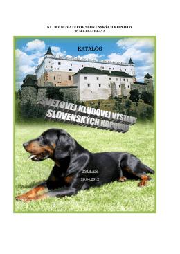 katalógu - Slovenský kopov – Klub chovateľov Slovenských kopovov
