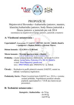 PROPOZÍCIE - fitnes klub Iskra Hnúšťa