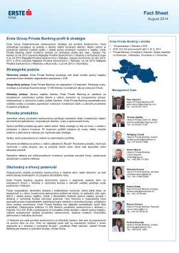Súhrn informácií o Erste Private Banking
