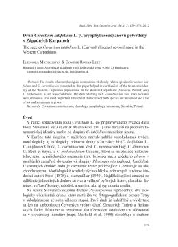 Druh Cerastium latifolium L. (Caryophyllaceae) znovu potvrdený v