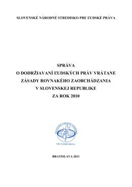 Návrh štruktúry správy za rok 2010