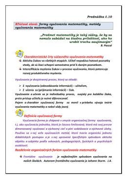 Formy a metódy vyučovania