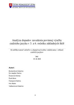 Analýza dopadov zavedenia povinnej výučby cudzieho jazyka v 3. a