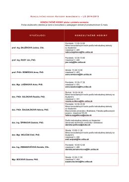 – L S 2014/2015 KONZULTAČNÉ HODINY platia v priebehu