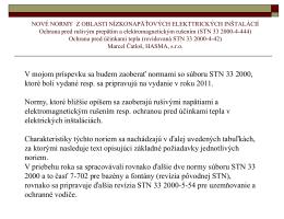 Nové normy z oblasti nízkonapäťových elektrických inštalácií