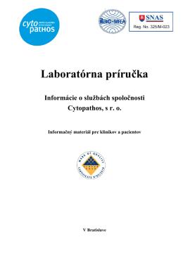 Laboratórna príručka - Cytopathos, spol. s ro