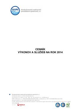 Cennik V a S na rok 2014 - Stredoslovenská vodárenská