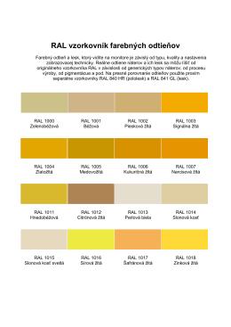 RAL vzorkovník farebných odtieňov