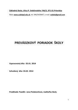 Prevádzkový poriadok 2014 - Základná škola, Ulica P. Dobšinského