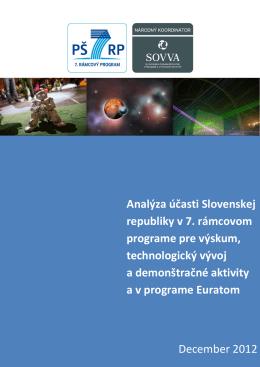 Analýza účasti Slovenskej republiky v 7. rámcovom programe