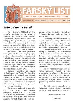 Info o fare na Pereši - Rímskokatolícka farnosť Košice