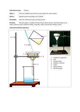 Laboratórna práca Filtrácia Úloha 1 Filtráciou oddeľte slanú vodu zo